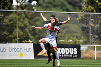 Alexander Greive of Waitakere United competes for the ball with Alex Palezevic of Team Wellington during the ISPS Handa Men's Premiership - Team Wellington v Waitakere Utd at David Farrington Park,Wellington on Saturday 30 January 2021.<br /> Copyright photo: Masanori Udagawa /  www.photosport.nz