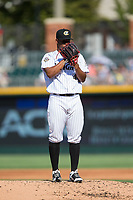 Charlotte Knights starting pitcher Reynaldo Lopez (40) looks to his catcher for the sign against the Gwinnett Braves at BB&T BallPark on July 16, 2017 in Charlotte, North Carolina.  The Knights defeated the Braves 5-4.  (Brian Westerholt/Four Seam Images)