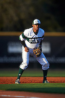 Chicago State Cougars third baseman Sanford Hunt (25) during a game against the Georgetown Hoyas on March 3, 2017 at North Charlotte Regional Park in Port Charlotte, Florida.  Georgetown defeated Chicago State 11-0.  (Mike Janes/Four Seam Images)