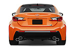 Straight rear view of2015 Lexus RC F 2 Door Coupe Rear View  stock images