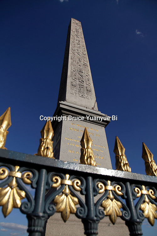 Obelisk behind railing in Concorde Square Place de la Concorde. Paris. France