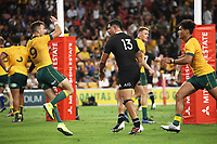 7th November 2020, Brisbane, Australia; Tri Nations International rugby union, Australia versus New Zealand;  Sevu Reece  of The Allblacks gets into a pushing match with Jake Gordon of Australia