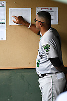 Manager Jolbert Cabrera (8) of the Augusta GreenJackets checks the board in a game against the Greenville Drive on Thursday, May 17, 2018, at Fluor Field at the West End in Greenville, South Carolina. Augusta won, 2-1. (Tom Priddy/Four Seam Images)