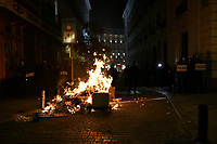 MADRID, SPAIN - FEBRUARY 17:  Garbage cans burns as People Attend a demonstration against the imprisonment of Spanish rapper Pablo Hasel on February 17 in Madrid, Spain.  (Photo by Joan Amengual / VIEWpress