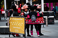 NEW YORK, NY - OCTOBER 20: People disguised wait for tourists at Times Square on October 20, 2020 in New York, with more than a 72% decline in tourism activity since the spread of the pandemic. Hotels, restaurants, museums, are more affected across New York State.  (Photo by Eduardo MunozAlvarez/VIEWpress)