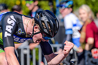 Te Awamutu Cycling's Burnie McGrath celebrates winning the Under-19 Men's road race, Carterton-Martinborough-Gladstone circuit, on day two of the 2018 NZ Age Group Road Cycling Championships in Carterton, New Zealand on Sunday, 22 April 2018. Photo: Dave Lintott / lintottphoto.co.nz