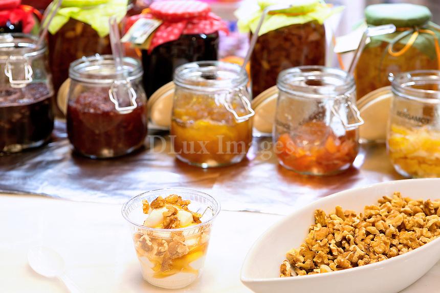 marmalade jars and Greek yogurt with honey and walnuts Milos Cafe