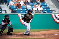 San Jose Giants left fielder Jean Angomas (46) during a California League game against the Visalia Rawhide on April 13, 2019 at San Jose Municipal Stadium in San Jose, California. Visalia defeated San Jose 4-2. (Zachary Lucy/Four Seam Images)