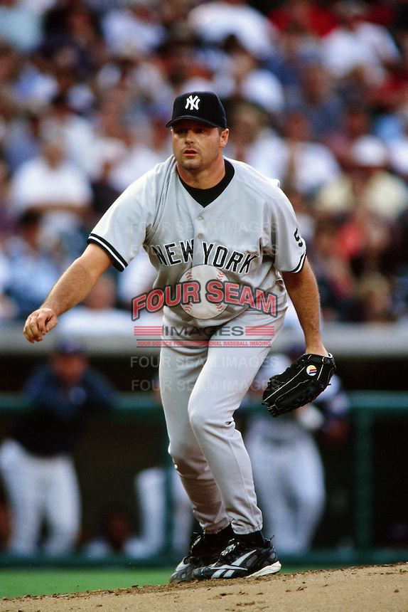 Roger Clemens of the New York Yankees during a game against the Anaheim Angels circa 1999 at Angel Stadium in Anaheim, California. (Larry Goren/Four Seam Images)