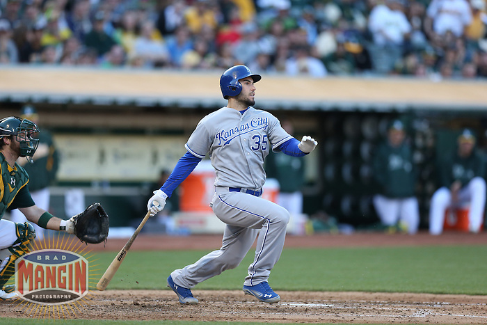 OAKLAND, CA - MAY 18:  Eric Hosmer #35 of the Kansas City Royals bats during the game against the Oakland Athletics at O.co Coliseum on Saturday May 18, 2013 in Oakland, California. Photo by Brad Mangin