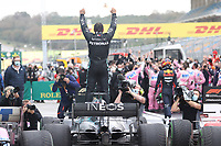 15th November 2020; Istanbul Park, Istanbul, Turkey; FIA Formula One World Championship 2020, Grand Prix of Turkey, Race Day;  44 Lewis Hamilton GBR, Mercedes-AMG Petronas Formula One Team celebrates winning the F1 World Drivers Championship  for the 7th time