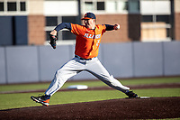 Illinois Fighting Illini pitcher Nathan Lavender (25) delivers a pitch to the plate during the NCAA baseball game against the Michigan Wolverines on March 19, 2021 at Fisher Stadium in Ann Arbor, Michigan. Illinois won the game 7-4. (Andrew Woolley/Four Seam Images)