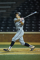 Trevor Candelaria (1) of the Davidson Wildcats follows through on his swing against the Wake Forest Demon Deacons at David F. Couch Ballpark on May 7, 2019 in  Winston-Salem, North Carolina. The Demon Deacons defeated the Wildcats 11-8. (Brian Westerholt/Four Seam Images)