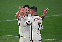 Football: Europa League - quarter final 2nd leg AS Roma vs Ajax, Olympic Stadium. Rome, Italy, March 15, 2021.<br /> Roma's captain Lorenzo Pellegrini (R) and Roger Ibanez (L) celebrate at the end of the Europa League quarter final 2nd leg football match between Roma at Rome's Olympic stadium, Rome, on April 15, 2021.  <br /> UPDATE IMAGES PRESS/Isabella Bonotto
