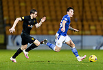 St Johnstone v Livingston…12.12.20   McDiarmid Park      SPFL<br />Danny McNamara is tracked by Alan Forrest<br />Picture by Graeme Hart.<br />Copyright Perthshire Picture Agency<br />Tel: 01738 623350  Mobile: 07990 594431