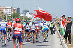 The peloton during Stage 2 of the 2015 Presidential Tour of Turkey running 182km from Alanya to Antalya. 27th April 2015.<br /> Photo: Tour of Turkey/Stiehl Photography/Mario Stiehl/www.newsfile.ie