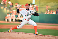 Northern Divisions pitcher Ryan Lillie (31) of the Greensboro Grasshoppers runs to first base during the South Atlantic League All Star Game at First National Bank Field on June 19, 2018 in Greensboro, North Carolina. The game Southern Division defeated the Northern Division 9-5. (Tony Farlow/Four Seam Images)