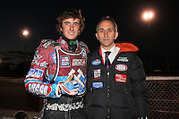 New Lakeside Hammers signing Adam Ellis with team manager Neil Vatcher - Lee Richardson Memorial Speedway Meeting at Arena Essex Raceway, Purfleet - 28/09/12 - MANDATORY CREDIT: Gavin Ellis/TGSPHOTO - Self billing applies where appropriate - 0845 094 6026 - contact@tgsphoto.co.uk - NO UNPAID USE.