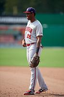 Auburn Doubledays first baseman Jamori Blash (26) during a game against the Batavia Muckdogs on September 1, 2018 at Dwyer Stadium in Batavia, New York.  Auburn defeated Batavia 10-5.  (Mike Janes/Four Seam Images)