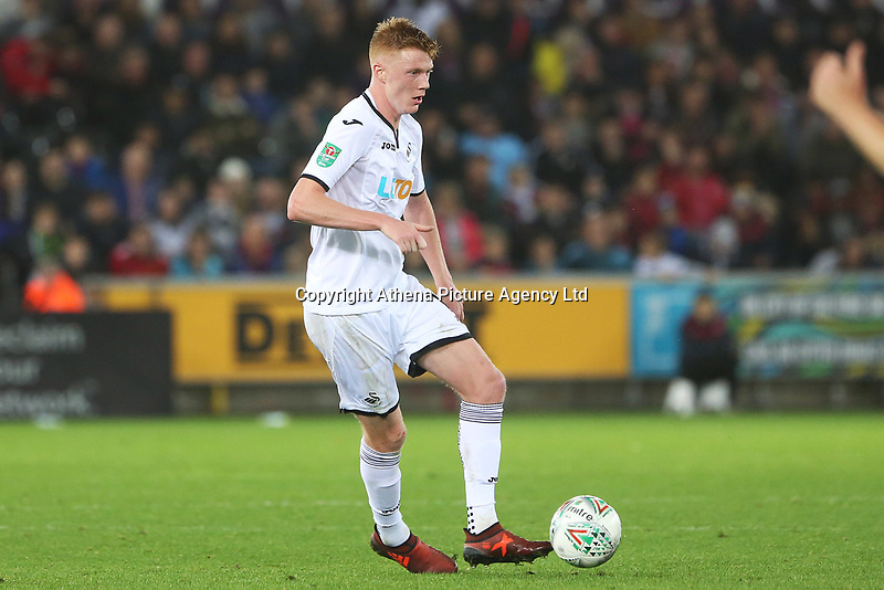 Sam Clucas of Swansea City during the Carabao Cup Fourth Round match between Swansea City and Manchester United at the Liberty Stadium, Swansea, Wales, UK. Tuesday 24 October 2017