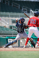 GCL Rays catcher Dawson Dimon (44) throws to second base in front of Ricardo Cubillan (20) during a game against the GCL Red Sox on August 1, 2018 at JetBlue Park in Fort Myers, Florida.  GCL Red Sox defeated GCL Rays 5-1 in a rain shortened game.  (Mike Janes/Four Seam Images)