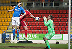 St Johnstone v Aberdeen...23.01.15   SPFL<br /> Chris Kane's header is saved by Scott Brown<br /> Picture by Graeme Hart.<br /> Copyright Perthshire Picture Agency<br /> Tel: 01738 623350  Mobile: 07990 594431