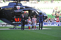 MELBOURNE, AUSTRALIA - FEBRUARY 12: A sponsor's helicopter delivers the ball for the round 27 A-League match between the Melbourne Heart and Sydney FC at AAMI Park on February 12, 2011 in Melbourne, Australia. (Photo Sydney Low / AsteriskImages.com)