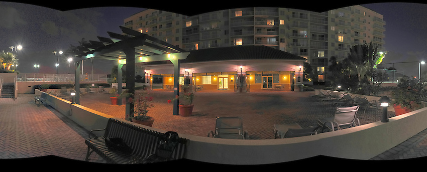 Panoramic of pool house at Tides at Bridgeside Square