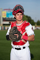 Billings Mustangs catcher Mark Kolozsvary (4) poses for a photo prior to the game against the Missoula Osprey at Dehler Park on August 21, 2017 in Billings, Montana.  The Osprey defeated the Mustangs 10-4.  (Brian Westerholt/Four Seam Images)