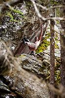 Dave Macleod bouldering in Magic Wood, Switzerland