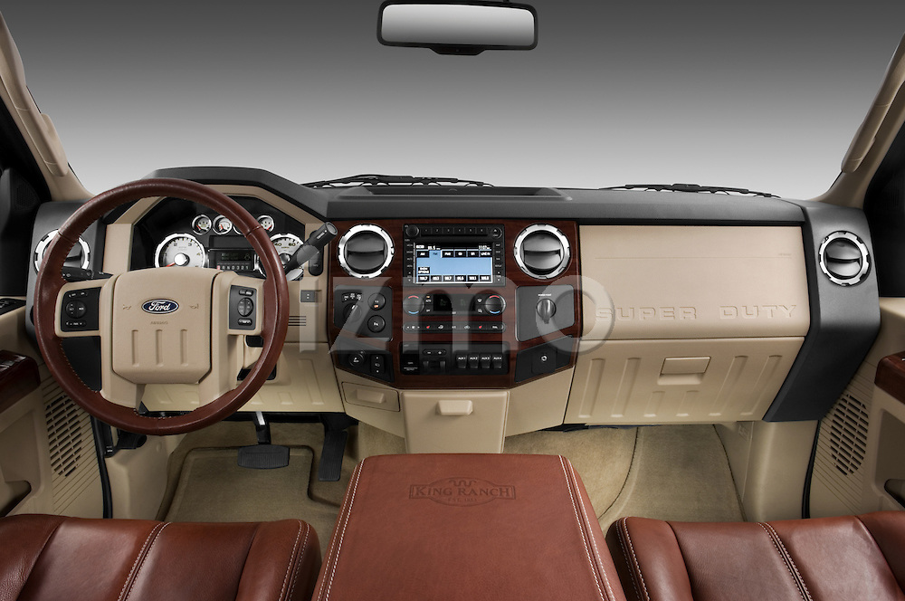 Straight dashboard view of a 2008 Ford F350 Crew Cab
