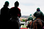 31 October 2009: Riders and horses are led onto the track by ponies before a race at Keeneland.
