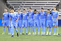 Houston, TX - Friday December 9, 2016: The North Carolina Tar Heels watch David October (11) walk to the penalty spot to take his kick in the overtime shootout against the Stanford Cardinal at the NCAA Men's Soccer Semifinals at BBVA Compass Stadium in Houston Texas.