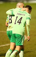 10th February 2021; St Mirren Park, Paisley, Renfrewshire, Scotland; Scottish Premiership Football, St Mirren versus Celtic; David Turnbull of Celtic celebrates with Scott Brown of Celtic after he makes it 4-0 to Celtic in the 83rd minute