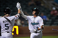 Salt River Rafters Royce Lewis (9), of the Minnesota Twins organization, is congratulated by Jake McCarthy (5) after hitting a home run during an Arizona Fall League game against the Mesa Solar Sox on September 19, 2019 at Salt River Fields at Talking Stick in Scottsdale, Arizona. Salt River defeated Mesa 4-1. (Zachary Lucy/Four Seam Images)
