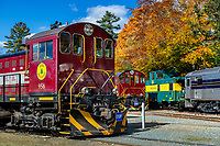 Hobo Railroad scenic foliage tours, Lincoln, New Hampshire, USA.