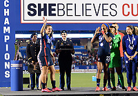 FRISCO, TX - MARCH 11: Carli Lloyd #10 of the United States, waves to the crowd after receiving her medal during a game between Japan and USWNT at Toyota Stadium on March 11, 2020 in Frisco, Texas.