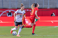 German Svenja Huth (9) pictured before a friendly female soccer game between the national teams of Germany and  Belgium , called the Red Flames  in a pre - bid tournament called Three Nations One Goal with the national teams from Belgium , The Netherlands and Germany towards a bid for the hosting of the 2027 FIFA Women's World Cup , on Sunday 21 st of February 2021  in Aachen , Germany . PHOTO SPORTPIX.BE   SPP   STIJN AUDOOREN