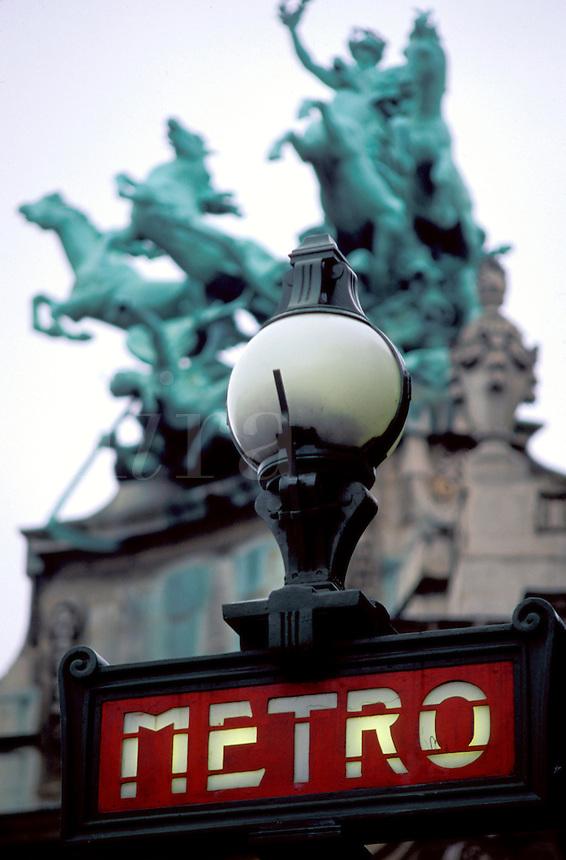 Metro, Paris, France, Europe, Metro station entrance sign along Avenue des Champs Elysees.