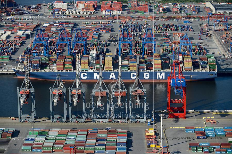 DEUTSCHLAND Hamburg Hafen Containerterminal Burchardkai der HHLA, Containerschiff der Reederei CMA CGM<br />  /<br /> GERMANY Hamburg container harbour , HHLA terminal, shipping company CMA CGM