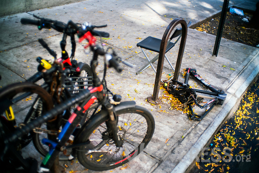 NEW YORK, NY - OCTOBER 15: A bicycle is seen after people stealing its parts and components at Times Square on October 15, 2020 in New York, At least 4,477 bicycles have been reported stolen with an increase of 27 percent from same period last year, according to the police. (Photo by Eduardo MunozAlvarez/VIEWpress)