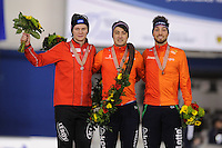 SPEEDSKATING: CALGARY: Olympic Oval, 26-02-2017, ISU World Sprint Championships, Overall Podium Men, Håvard Holmefjord Lorentzen (NOR), Kai Verbij (NED), Kjeld Nuis (NED), ©photo Martin de Jong