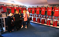 Pictured: Shoppers inside the store. Saturday 01 July 2017<br /> Re: The new 2017-2018 season, Swansea City FC kit has officially gone on sale at the club's Liberty Stadium shop, Wales, UK