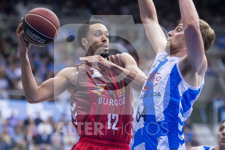 San Pablo Burgos John Jenkins and Gipuzkoa Basket Henk Norel during Liga Endesa match between San Pablo Burgos and Gipuzkoa Basket at Coliseum Burgos in Burgos, Spain. December 30, 2017. (ALTERPHOTOS/Borja B.Hojas)