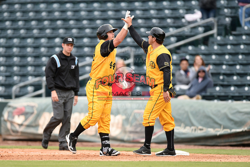 Jacksonville Suns  first baseman Rich Poythress (44) high fives hitting coach Kevin Randel (25) after his game winning single during a game against the Pensacola Blue Wahoos on April 20, 2014 at Bragan Field in Jacksonville, Florida.  Jacksonville defeated Pensacola 5-4.  (Mike Janes/Four Seam Images)