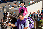 DEL MAR, CA  JULY 21:  #10 War Heroine, ridden by Tyler Baze, in the post parade of the San Clemente Handicap (Grade ll) on July 21, 2018, at Del Mar Thoroughbred Club in Del Mar, CA(Photo by Casey Phillips/Eclipse Sportswire/Getty Images)