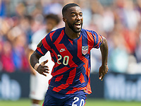 KANSAS CITY, KS - JULY 18: Shaq Moore #20 of the United States scores and celebrates his goal during a game between Canada and USMNT at Children's Mercy Park on July 18, 2021 in Kansas City, Kansas.