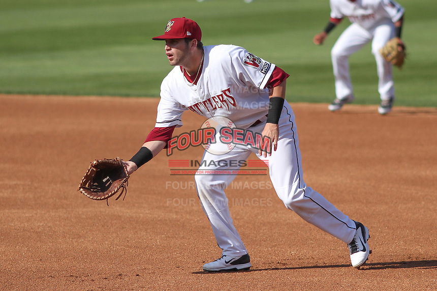 Wisconsin Timber Rattlers first baseman Alan Sharkey (18) during a Midwest League game against the Quad Cities River Bandits on July 17th, 2015 at Fox Cities Stadium in Appleton, Wisconsin. Quad Cities defeated Wisconsin 4-2. (Brad Krause/Four Seam Images)