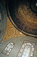 Topkapi Palace:  Istanbul.  The Privy Chamber of Murad III (1574-9) .  A painted dome on pendentives, decorated with foliate arabesques. At center of dome, a roundel with Koran Chapter CXII.