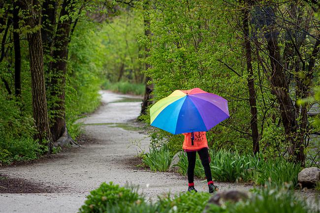 May 14, 2020; St. Joseph Lake path on a rainy day (Photo by Matt Cashore/University of Notre Dame)